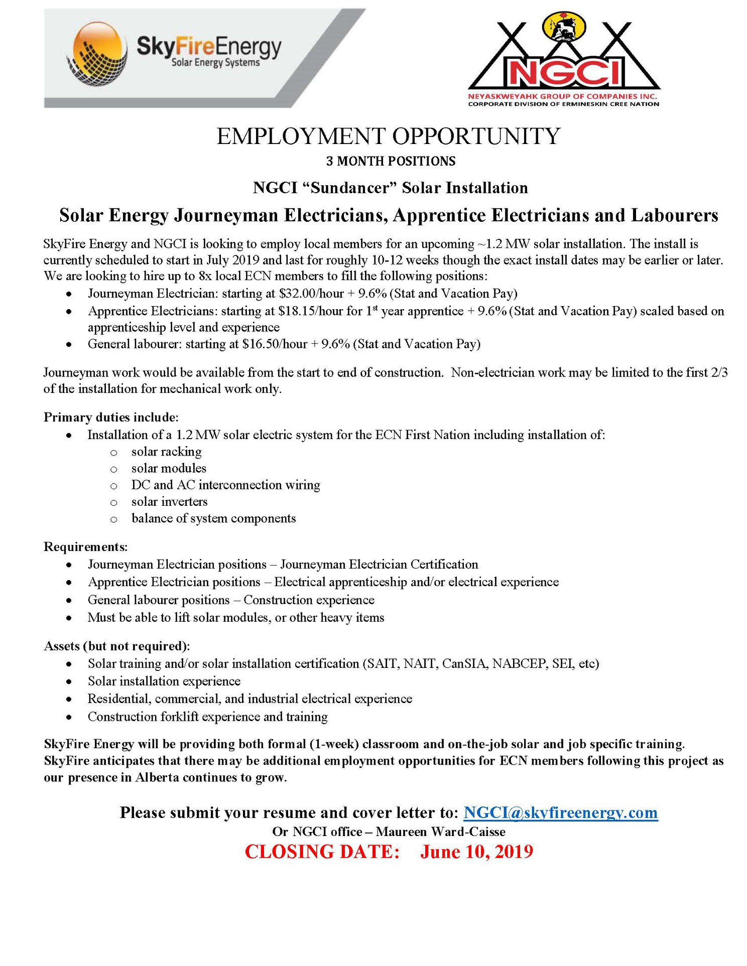 Employment OpportunitySeeking motivated individuals with an interest